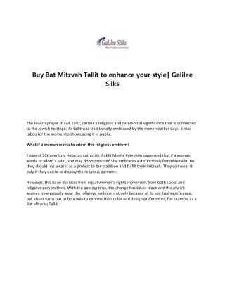 Buy Bat Mitzvah Tallit to enhance your style| Galilee Silks