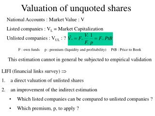 Valuation of unquoted shares