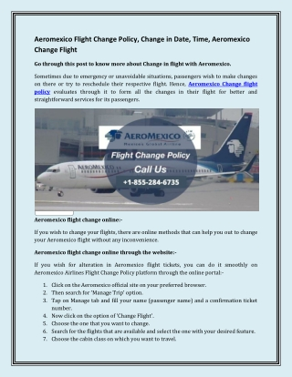 Aeromexico Flight Change Policy, Change in Date, Time, Aeromexico Change Flight
