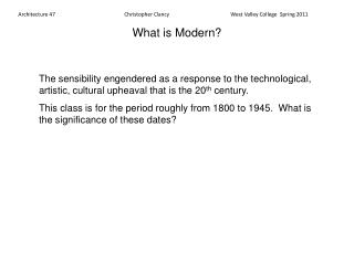What is Modern?