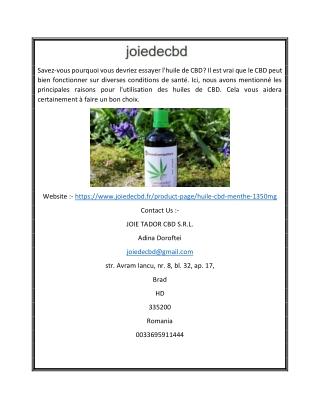 Acheter Menthe CBD Oil 100ml en france | Joiedecbd.fr