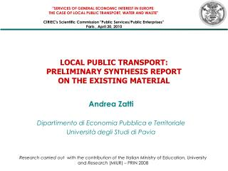 LOCAL PUBLIC TRANSPORT: PRELIMINARY SYNTHESIS REPORT  ON THE EXISTING MATERIAL