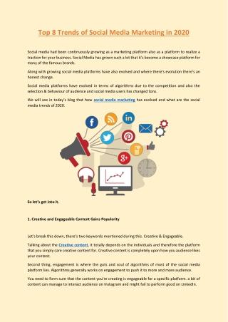 Top 8 Trends of Social Media Marketing in 2020