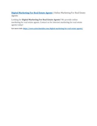 Digital Marketing For Real Estate Agents   Online Marketing For Real Estate Agents