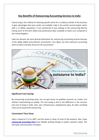 Fundamental Benefits Of Outsourcing Accounting Services To India