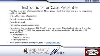 Instructions for Case Presenter
