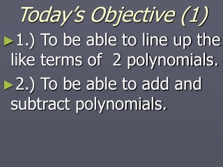 Today's Objective (1)