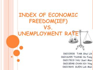 INDEX OF ECONOMIC FREEDOM(IEF)  VS.  UNEMPLOYMENT RATE