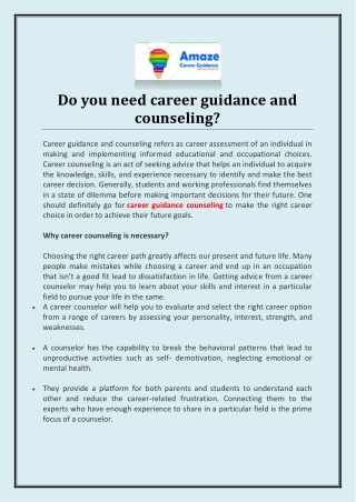 Do You Need Career Guidance and Counseling?