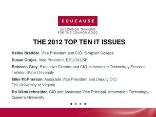 The 2012 Top Ten IT Issues