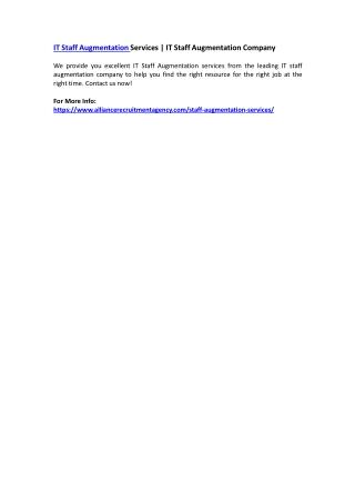 IT Staff Augmentation Services | IT Staff Augmentation Company