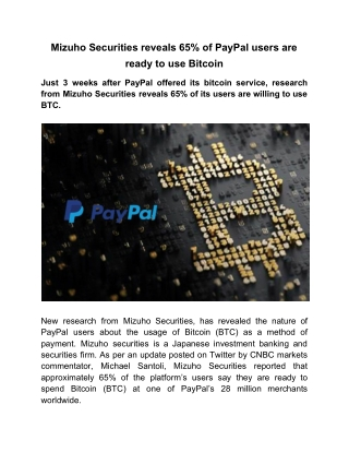 Mizuho Securities reveals 65% of PayPal users are ready to use Bitcoin