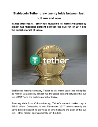 Stablecoin Tether grew twenty folds between last bull run and now