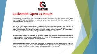 Locksmith Open 24 Hours