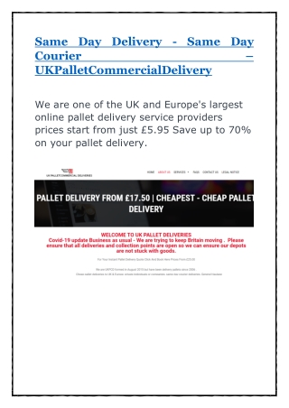 Same Day Delivery - Same Day Courier –
