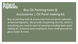 Buy Oil Painting tools & Accessories   Oil Paint making kit