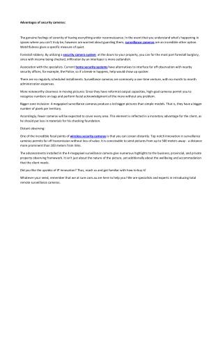 Advantages of security cameras