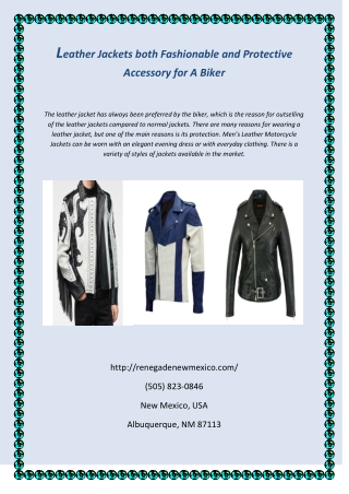 Leather Jackets both Fashionable And Protective Accessory For A Biker
