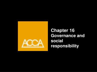 Chapter 16 Governance and social responsibility