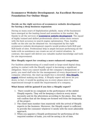Ecommerce Website Development: An Excellent Revenue Foundation For Online Shops