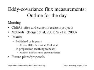 Eddy-covariance flux measurements: Outline for the day