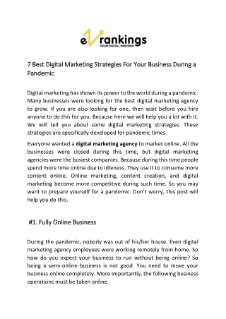 7 Best Digital Marketing Strategies For Your Business During a Pandemic