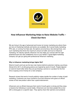 How Influencer Marketing Helps to Raise Website Traffic – Check Out Here