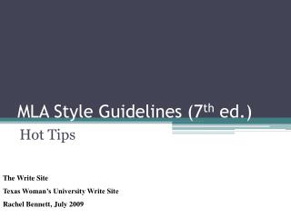 MLA Style Guidelines 7th ed.