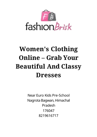 Women's Clothing Online – Grab Your Beautiful And Classy Dresses