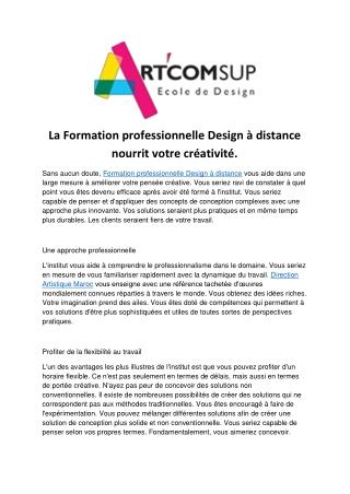La Formation professionnelle Design à distance nourrit votre créativité.