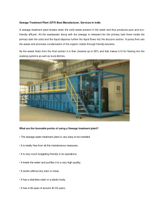Sewage Treatment Plant (STP) Best Manufacturer, Services in india