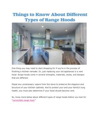 Convertible range hood