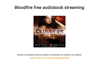 Bloodfire free audiobook streaming