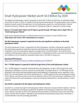 Small Hydropower Market worth $3.0 Billion by 2024