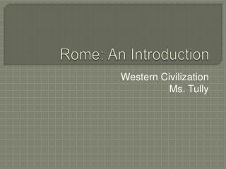 Rome: An Introduction