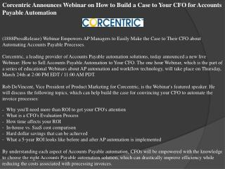 Corcentric Announces Webinar on How to Build a Case to Your