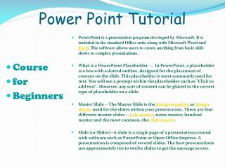 Power Point Tutorial