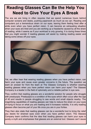 Reading Glasses Can Be the Help You Need to Give Your Eyes A Break | The Glasses Company
