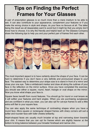 Tips on Finding the Perfect Frames for Your Glasses | The Glasses Company