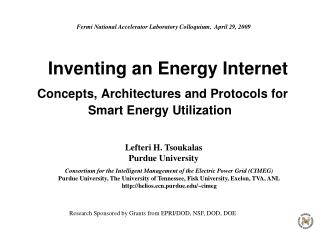 Inventing an Energy Internet  Concepts, Architectures and Protocols for Smart Energy Utilization