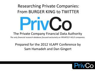 The Private Company Financial Data Authority