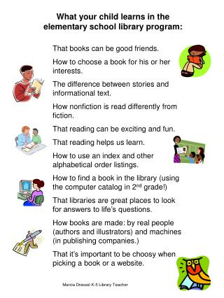 What your child learns in the elementary school library program: