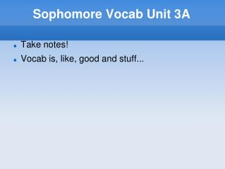 Sophomore Vocab Unit 3A
