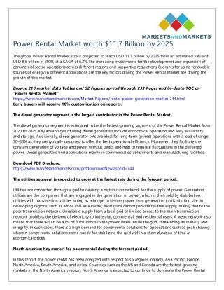Power Rental Market worth $11.7 Billion by 2025