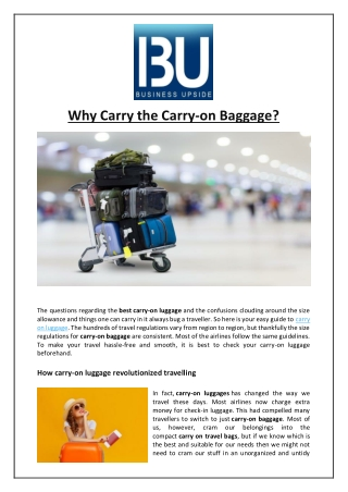 Why Carry the Carry-on Baggage?