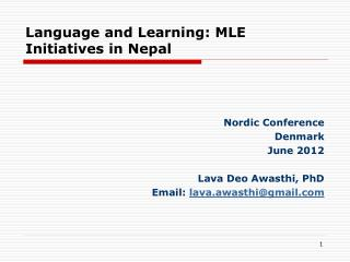 Language and Learning: MLE Initiatives in Nepal