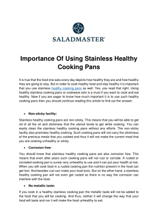 Importance Of Using Stainless Healthy Cooking Pans
