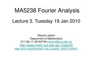 MA5238 Fourier Analysis