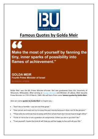 Famous Quotes by Golda Meir