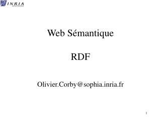 Web Sémantique  RDF